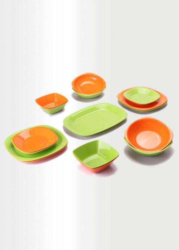 Dinnerware Set – Lime & Orange
