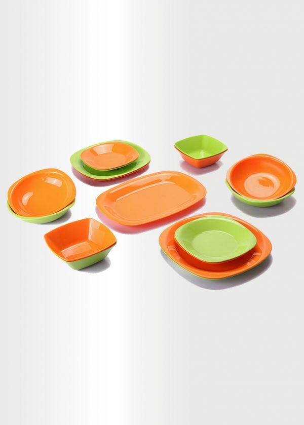 طقم عشاء – 17 قطعة – برتقالي & بستاج