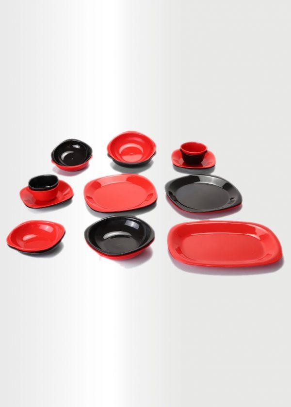 Dinnerware Set – Red & Black