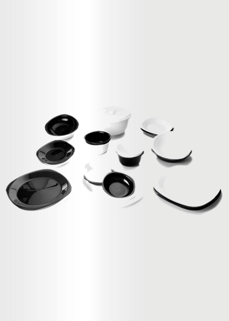 Dinnerware Set - White & Black