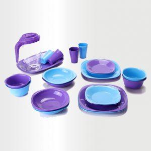 طقم عشاء - 22 قطعة - موف فاتح & ازرق لبني